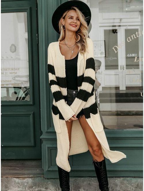 Simplee Striped Pocket Longline Cardigan