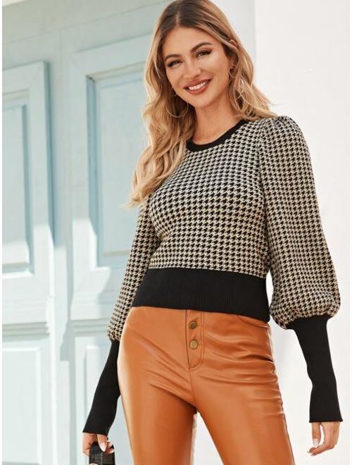 Houndstooth Print Leg Of Mutton Sleeve Sweater