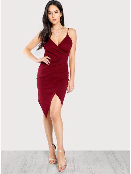 Shein Ruched Asymmetrical Hem Wrap Cami Dress