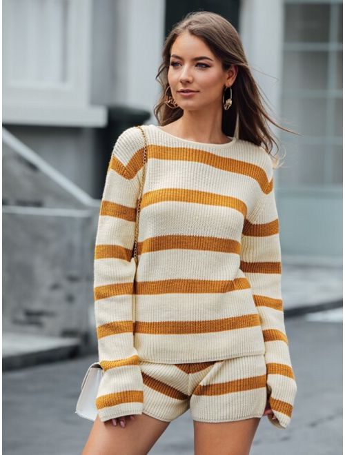Color-block Striped Sweater With Sweater Shorts