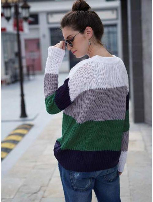 Cut And Sew Rib Knit Sweater
