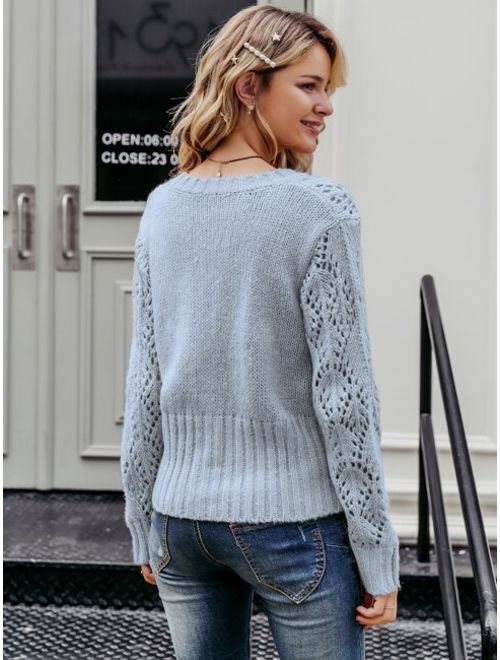 Simplee Solid Button Front Cut-out Sweater Cardigan