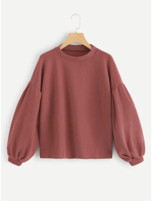 Bishop Sleeve Drop Shoulder Sweater