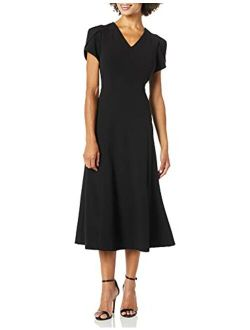 Women's Tulip Sleeve A-line Midi Dress