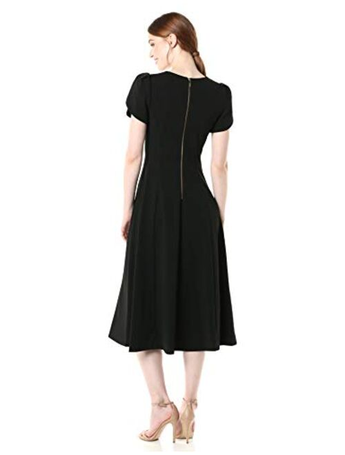 Calvin Klein Women's Tulip Sleeve A-line Midi Dress