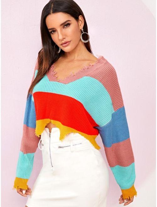 Cut and Sew Ripped Trim Sweater