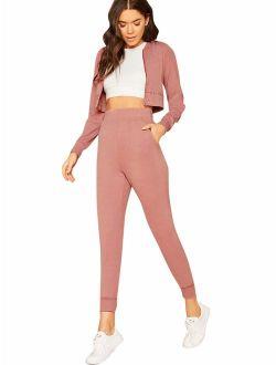 Women's 2 Piece Zipper Up Bomber Jacket Crop Top And Jogger Pant Sets