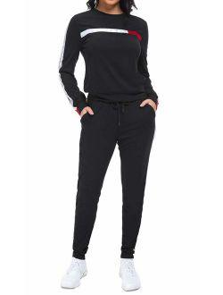GOSO Women's 2 Pieces Sweatsuits Set Stripe Patchwork Long Sleeve Pullover Long Pants Tracksuits Sets