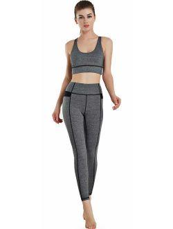 JINSEYUAN Women's high Waist Abdomen Fitness Yoga Suit Sports Suit (2 Piece Set)
