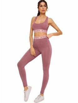 Milumia Women Yoga Sets Racerback High Waist Sport Bra Leggings 2 PCS Outfits Tracksuits