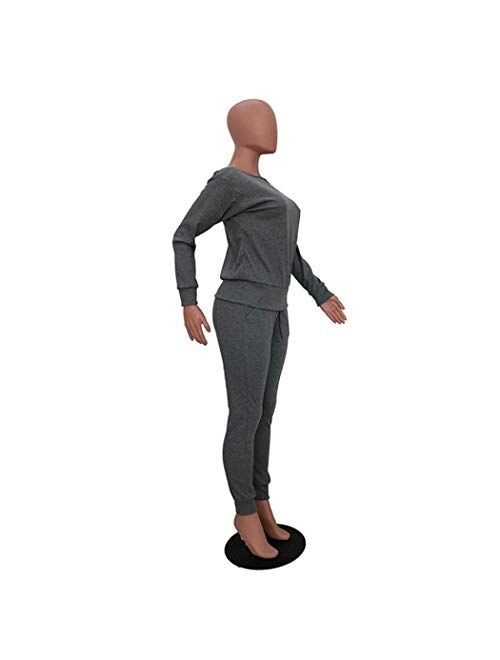 Nuofengkudu Womens Fall Pullover Sweater Tops & Jogger knitted lounge Sweatsuit 2 Piece Outfits Tracksuit