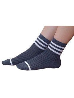 AM Landen Women's Gray Ankle Striped Athletic Short Cotton Socks