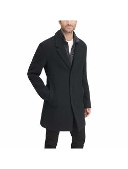 Men's Wool Blend Coat With Removable Quilted Bib