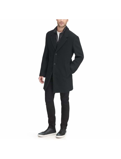 DKNY Mens Wool Blend Coat with Removable Quilted Bib