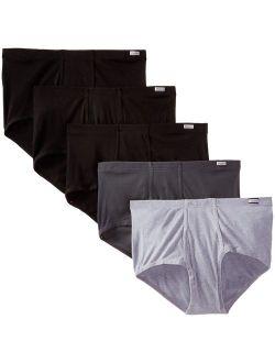 Men's Cotton Solid Elastic Waist 5-pack Big Mid-rise Comfortsoft Briefs
