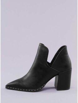 Studded Pointed Toe Split Shaft Block Heel Booties