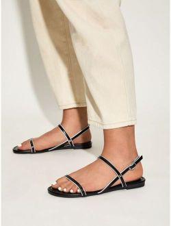 Open Toe Slingback Flat Sandals