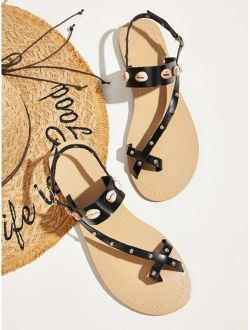 Studded Decor Toe Ring Slingback Sandals