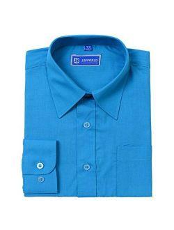 JB World Boys Turquoise Long Sleeve Button Front Uniform Dress Shirt
