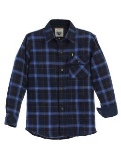 Little Boys Blue Navy Corduroy Contrast Flannel Plaid Shirt 4-7