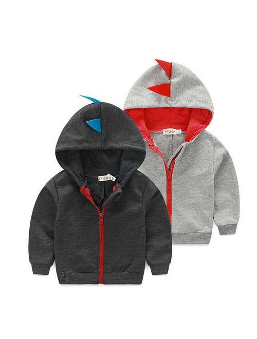 Cute Dinosaur Hooded Baby Boys Clothes Long sleeve Hoodie Tops Jacket Coat 0~3Y