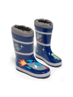 Kidorable Boys Blue Space Hero Print Lined Rubber Rain Boots 11-2 Kids