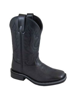 Smoky Mountain Kid's Outlaw Black Leather Cowboy Boots 3756