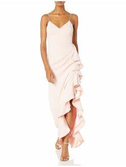 Badgley Mischka Women's V-Neck Ruffle Gown