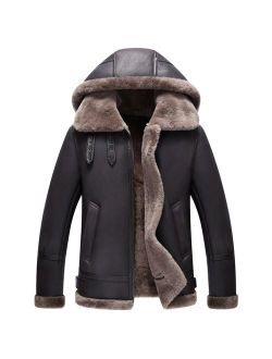 Hooded Shearling Jacket Mens B3 Flight Jacket Short Leather Jacket Mans Sheepskin Aviator Fur Coat