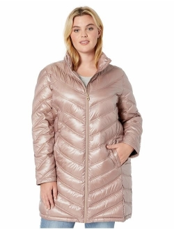 Women's Chevron Quilted Packable Down Jacket (regular And Plus Sizes)