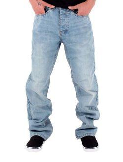 Rocawear Men's Double R Denim Loose Fit Jeans, Stonewash Blue