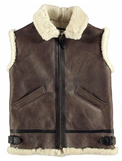 B3 USAAF Brown Bomber White Real Shearling Sheepskin Leather Vest