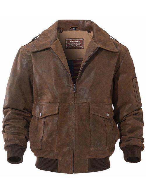 FLAVOR Men's Leather Flight Bomber Jacket Air Force Aviator
