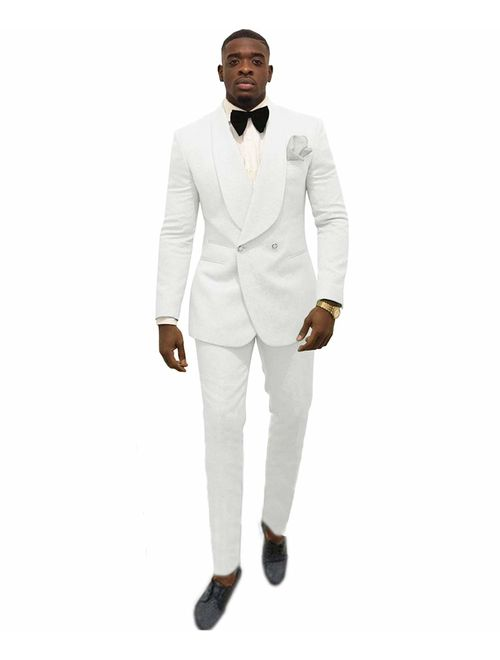 Zeattall Men's Shawl Lapel Slim Fit Suit 2 Pieces Groom Tuxedos Double-Breasted Blazer Prom Party Suits