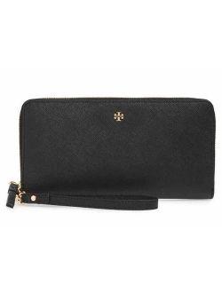 Womens Full Zip Around Emerson Crossgrain Leather Clutch Wallet Purse Black Gold Tone