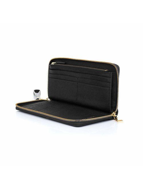 Tory Burch Womens Full Zip Around Emerson Crossgrain Leather Clutch Wallet Purse Black Gold Tone