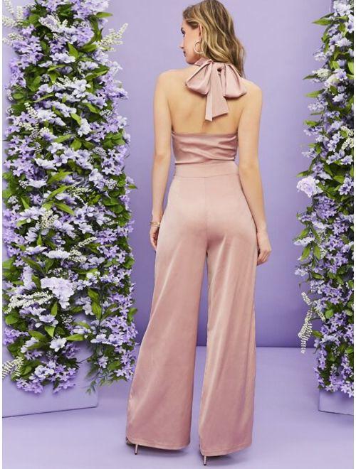 Shein Cross Wrap Front Tie Back Wide Leg Satin Jumpsuit