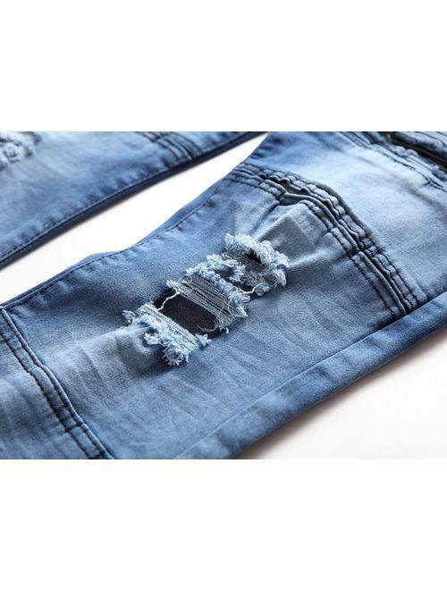 Liuhond Skinny Slim Fashion Men's Ripped Straight Holes Hip Hop Biker Stretchy Jeans