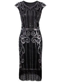 VIJIV 1920s Vintage Inspired Sequin Embellished Fringe Long Gatsby Flapper Dress