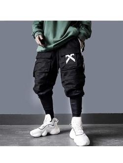 Mens Casual Streetwear Punk Street Harem Pants Hip Hop Elastic Waist Pants Rock Bottom With Pockets