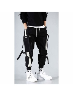 Mens Punk Cargo Pants Hip-hop Jogger Patchwork Popular Baggy Teachwear Pants
