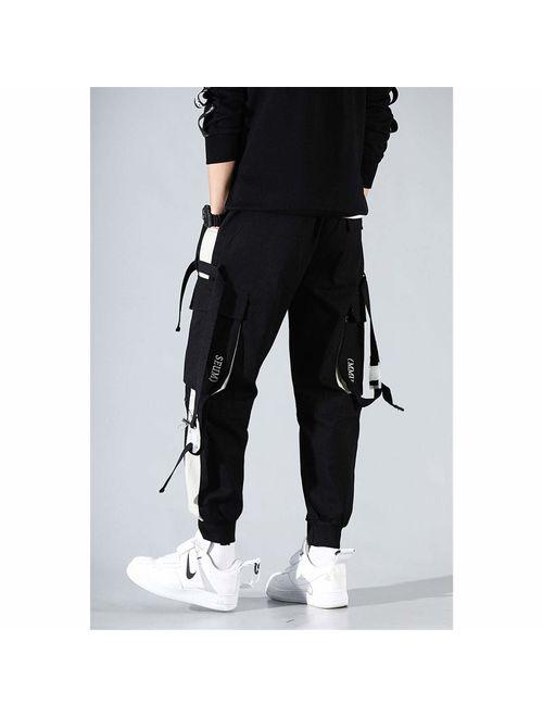 Astellarie Mens Punk Cargo Pants Hip-hop Jogger Patchwork Popular Baggy Teachwear Pants