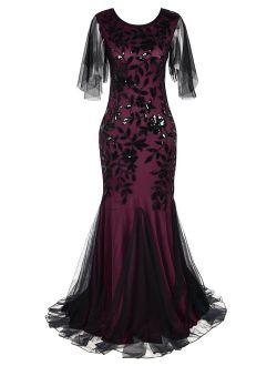 Women's Evening Dress 1920s Sequin Mermaid Hem Embellished Maxi Long Formal Ball Gown