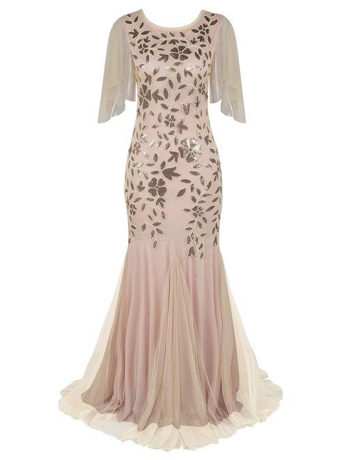 PrettyGuide Women's Evening Dress 1920s Sequin Mermaid Hem Embellished Maxi Long Formal Ball Gown