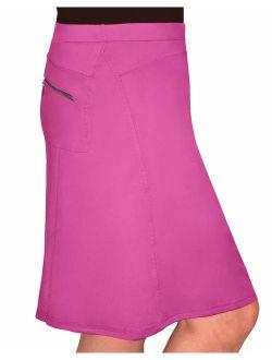 Kosher Casual Women's Modest Knee-Length Swim Sport Skirt with Built-in Shorts - Skort Style