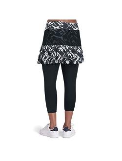 Capri Skirted Leggings For Tennis Sports With Pocket