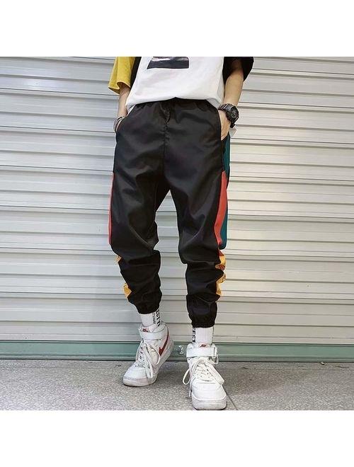 V-A-O-L Hip Hop Streetwear Men's Splice Joggers Pants Fashion Men Casual Cargo Pant Elastic Waist