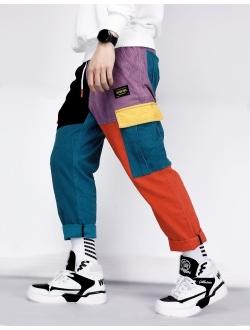 Men's Color Patchwork Cargo Pants Hip Hop Joggers Streetwear Pants