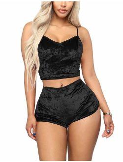 Angsuttc Women's Velvet 2 Piece Outfit Spaghetti Strap Sleeveless Crop Top+ Shorts Set