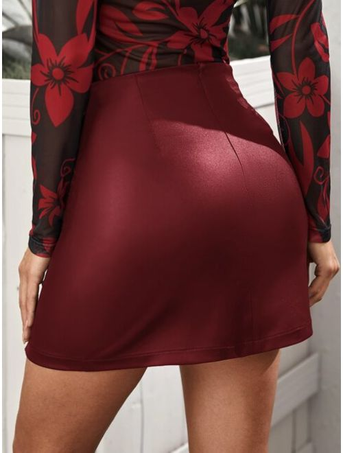 Split Hem Leather Look Skirt